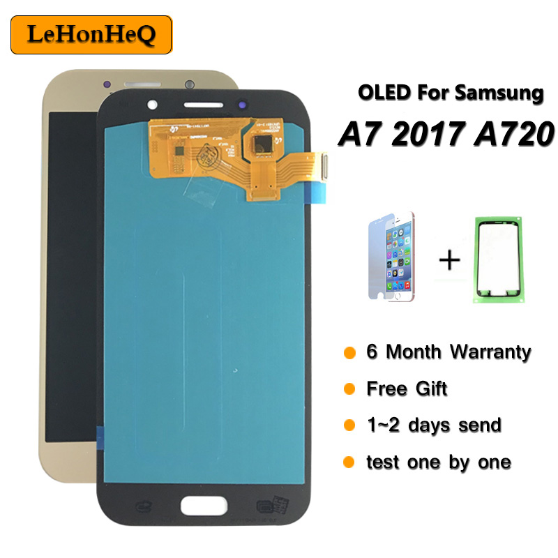 Test A720 LCD For <font><b>Samsung</b></font> galaxy A7 2017 A720 <font><b>A720F</b></font> A720M SM-<font><b>A720F</b></font> LCD Display Touch <font><b>Screen</b></font> Digitizer Assembly Replacement image