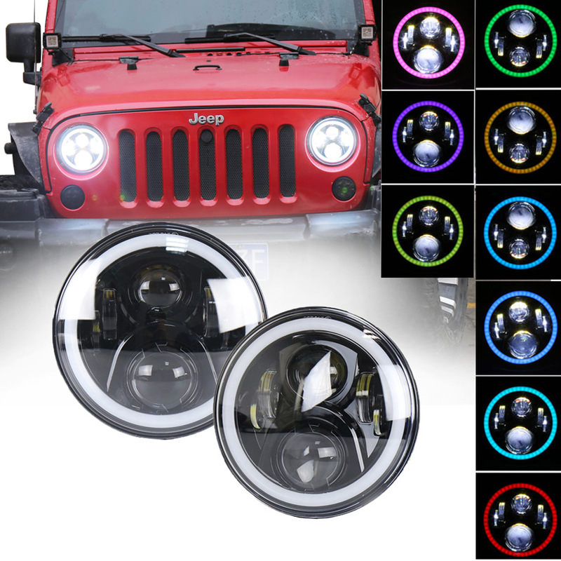 The Vectra 7 Inch Jeep Wrangler Led Headlamps 50 W Phone Bluetooth Control RGB Line Light RGB Lamps