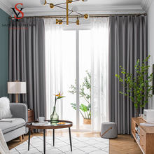 Moderno sólido cortinas blackout para sala de estar alta sombreamento cortina grossa tratamento janela para o quarto terminou cortinas