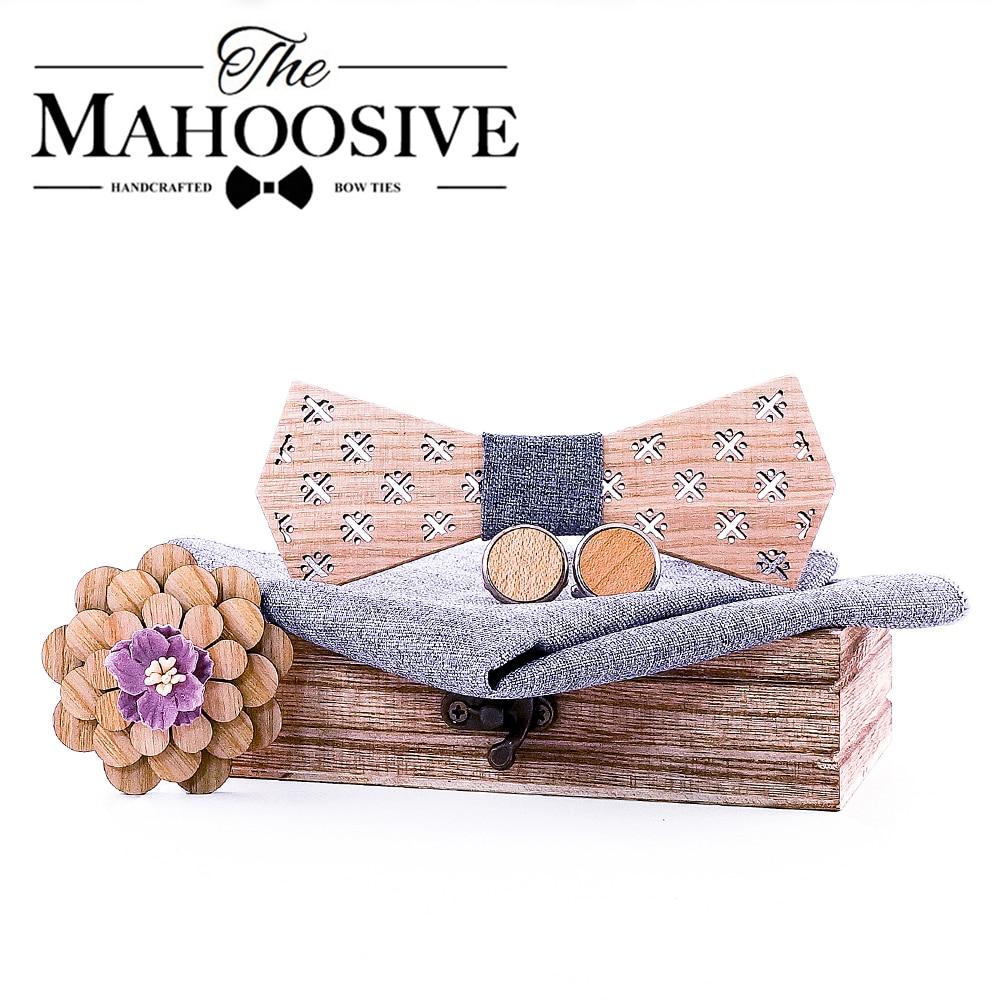 Mahoosive Formal Dress Wooden Bow Ties Men Papion Man Boda Homme Model Handkerchief Cufflinks Gifts Ties For Men Cadeau Homme