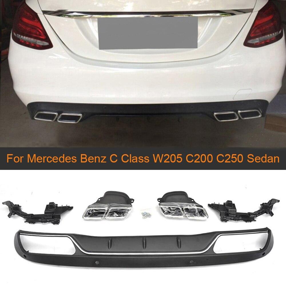 2 X Chrome Acier Inoxydable échappement échappement capot Mercedes classe C w205 c205