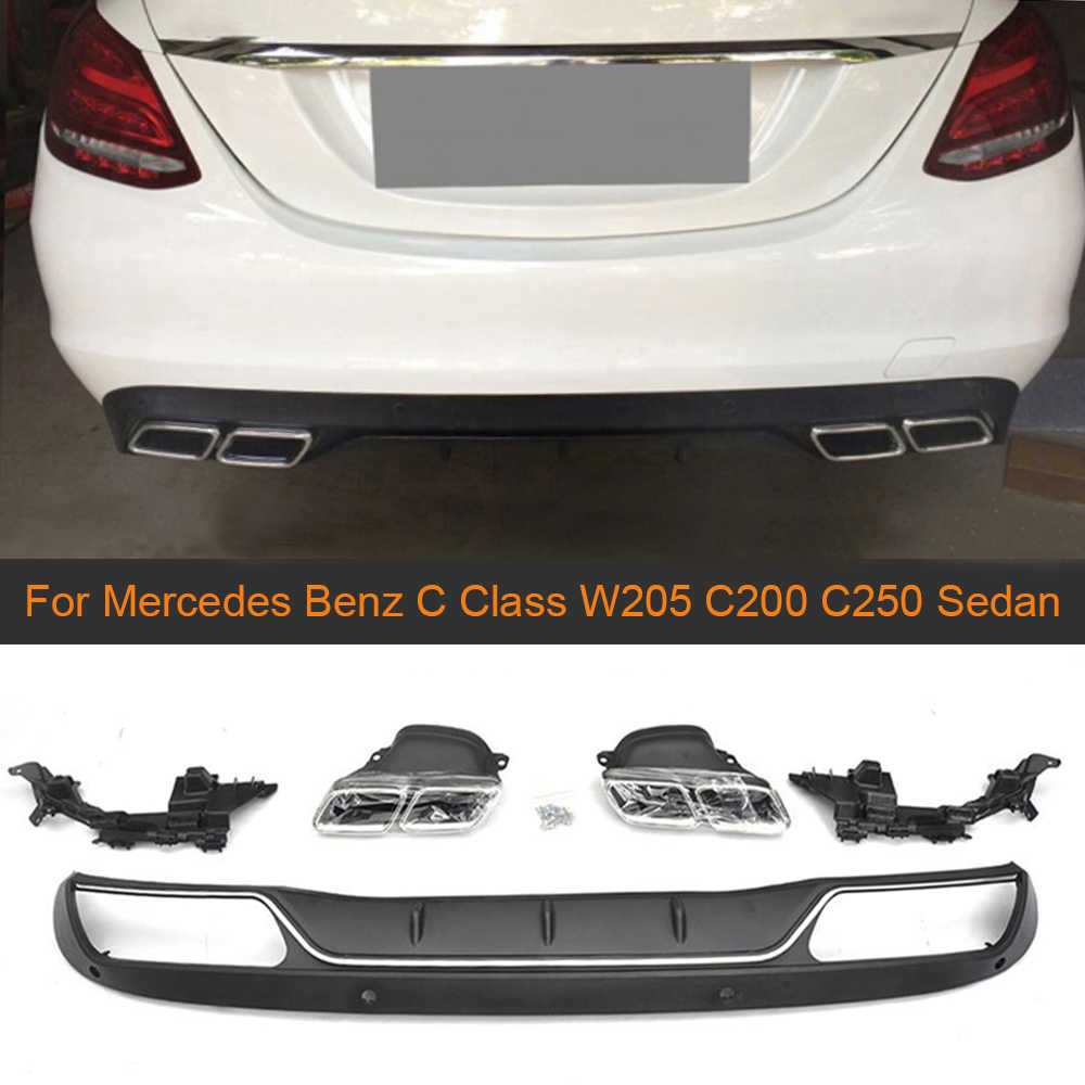 PP задний бампер диффузор для Mercedes Benz C Class W205 C200 C250 седан 4-дверь 2015-2017 не Спорт C63 диффузор с выхлопными наконечниками