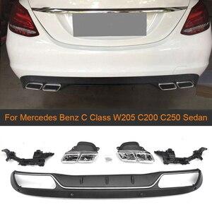 PP Rear Bumper Diffuser For Mercedes Benz C Class W205 C200 C250 Sedan 4-Door 2015-2017 Non Sport C63 Diffuser with Exhaust Tips(China)