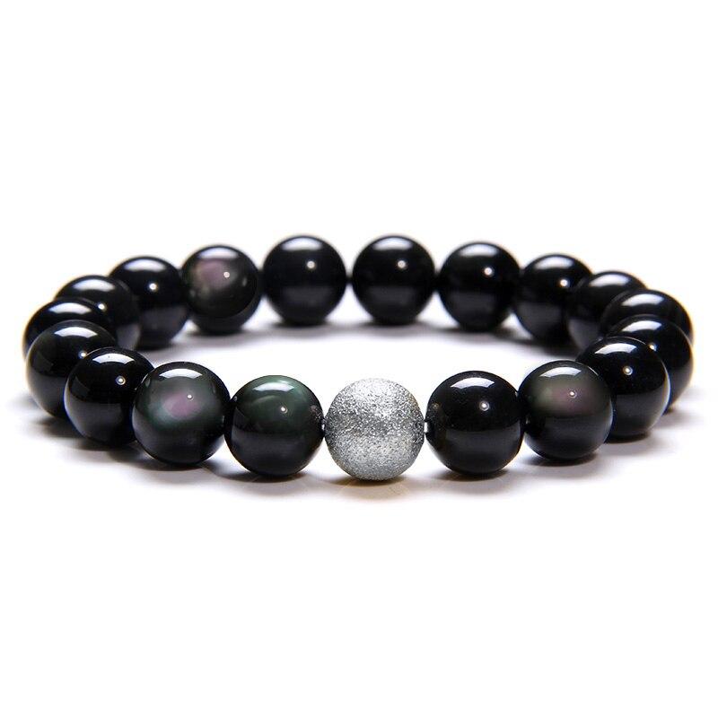 Bracelets en obsidienne noire pour hommes, perles en Pierre Naturelle polie arc-en-ciel, énergie de guérison, couleur argent