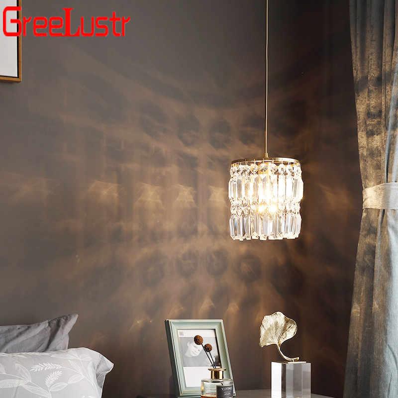 북유럽 구리 LED 펜 던 트 조명 크리스탈 3 머리 현대 펜 던 트 램프 식당 테이블 바 부엌 전등에 대 한 광택
