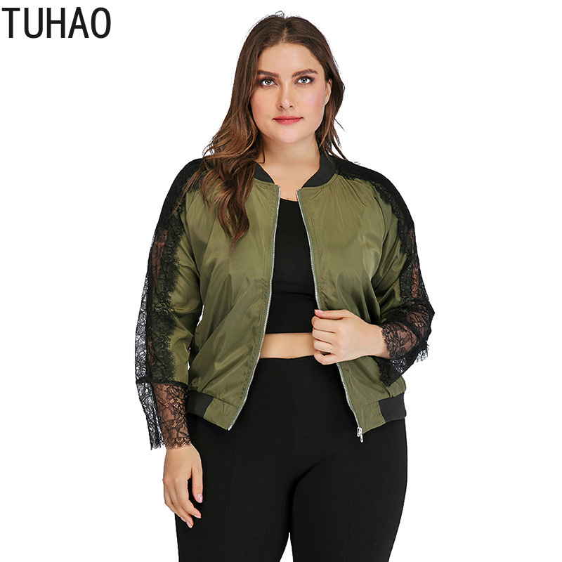 TUHAO Autumn Large Size 4XL 3XL Female Jacket Women's Lace Stitching Long-sleeved Zipper Jacket Fall Woman Clothing Coats WM03
