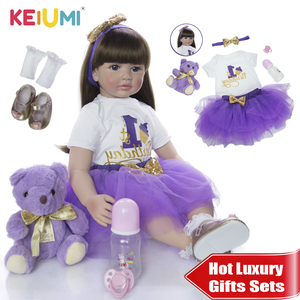 KEIUMI New Soft Silicone Vinyl Reborn Baby Doll 60cm Lifelike 24'' Reborn Menina Long Hair Kids Playmate For Birthday Surprise