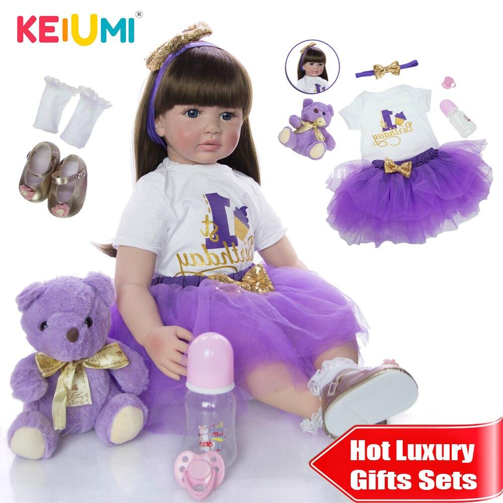 Мягкая силиконовая кукла реборн KEIUMI, Реалистичная кукла-младенец, 60 см, 24 дюйма, Реборн, девочка, длинные волосы, дети, Playmate, тканевое тело для...