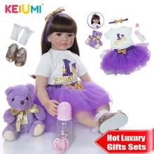 Keiumi silicone macio reborn boneca do bebê 60cm lifelike 24 24 reborn reborn menina cabelo longo crianças playmate pano corpo para aniversário surpresa
