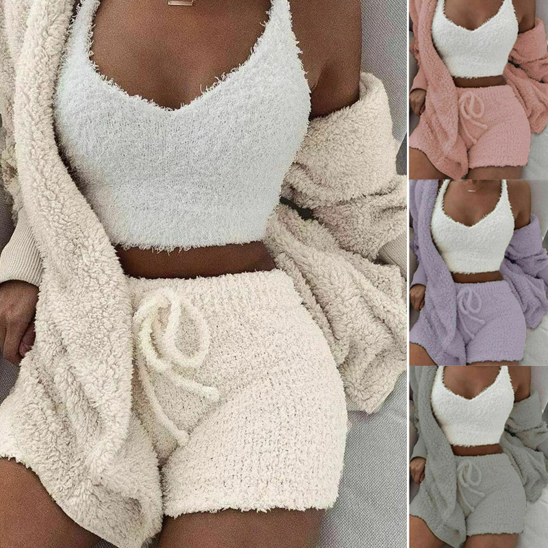 New Fashion Fluffy Hooded Long Sleeves Coat Open Front Teddy Shorts Vest Set For Women Winter J9