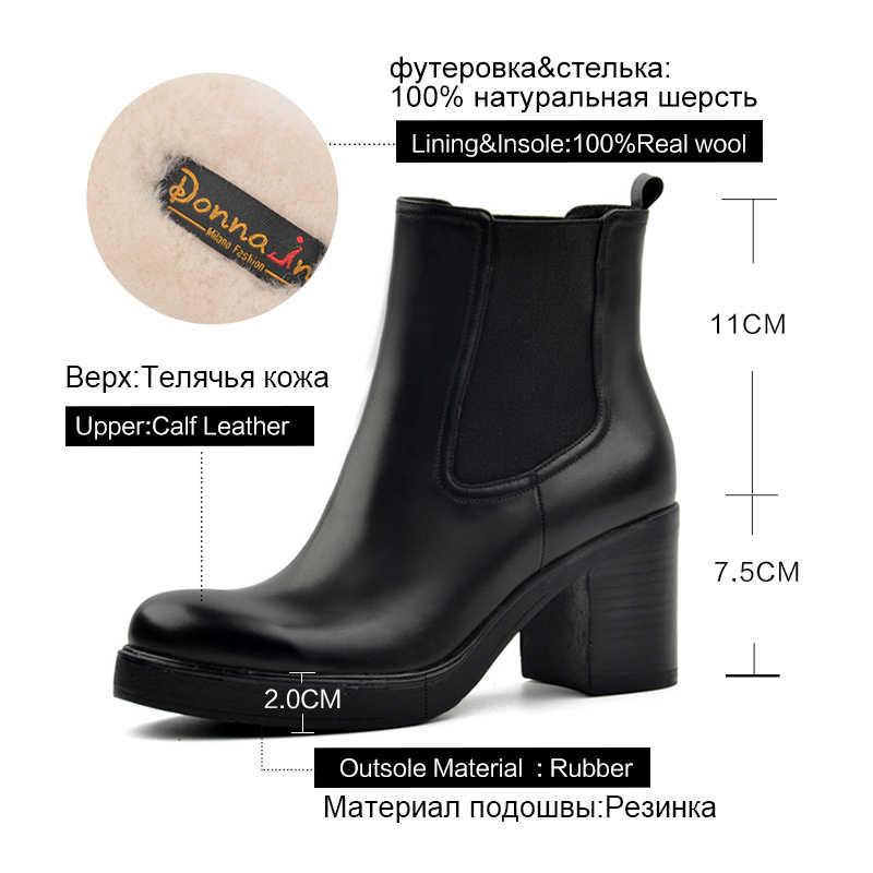 Donna-in kadınlar hakiki deri kar botları doğal yün kürk astarı kış patik platformu yüksek topuklu ayakkabı Chelsea yarım çizmeler