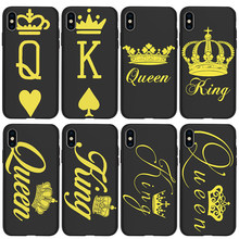King Queen For iPhone X XR XS Max 5 5S SE 6 6S 7 8 Plus Oneplus 5T Pro 6T phone Case Cover Coque Etui funda capinha capa luxury(China)