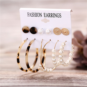 IF ME Fashion Vintage Gold Pearl Round Circle Drop Earrings Set For Women Girl Large Acrylic Tortoise shell Dangle Ear Jewelry 2