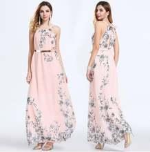 Розовое платье макси в стиле бохо летнее женское Повседневное