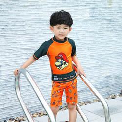 Купальник для мальчиков с рисунком Супер Марио, Раздельный комплект из двух предметов, детский купальный костюм, спортивный