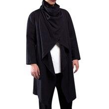 HEFLASHOR Men Trench Coat Cotton Long Sleeve Scarf Collar Hip-hop Jacket Coats Cloak Outerwear Pull Irregular Shirts