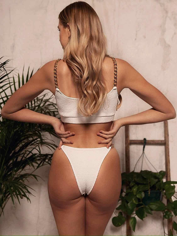 Il Trasporto Libero Del Costume da Bagno Delle Donne 2020 New Estate Nero Bianco a Vita Bassa Bikini Set con Catene 2 Pezzo Costumi da Bagno Push Up bikini