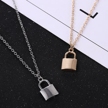 Sıcak satış yeni basit moda Metal kaplama kilit kolye lüks bayanlar kolye klavikula zinciri avrupa ve amerikan takı