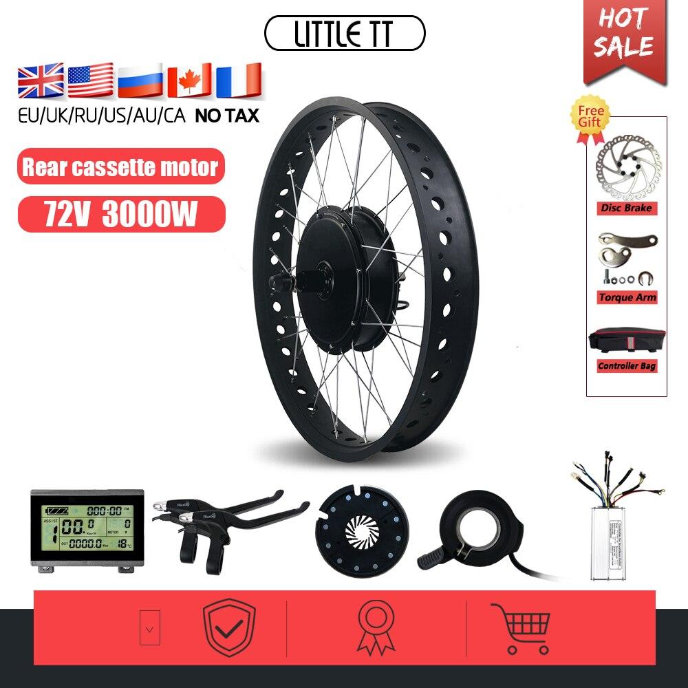 Электрический колесо для велосипеда на толстых покрышках 72V 3000W, комплект для снежного велосипеда, Задняя кассета, ступичный двигатель, 24 26 д...