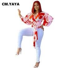 CM.YAYA damskie bluzki z pełnym ściągaczem sweter z dekoltem typu V-neck Print bluzka z szyfonu Fashion Office bluzka dla pań wiosna odzież na jesień 2021