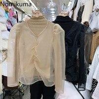 Nomikuma Neue Mode Rollkragen Langarm Shirts Zweiteilige Feste Farbe Koreanische Chic Tops Weibliche Stilvolle Alle-spiel Bluse blusa