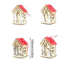 Christmas Tree Decorations Lighted Cabins Pendants Christmas Small Ornaments Children's Gifts Desktop Decor cabins