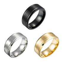 Мужские кольца из нержавеющей стали, ширина 8 мм, матовые, с двойным Скосом, простые, популярные, модные ювелирные украшения, кольцо в подарок...