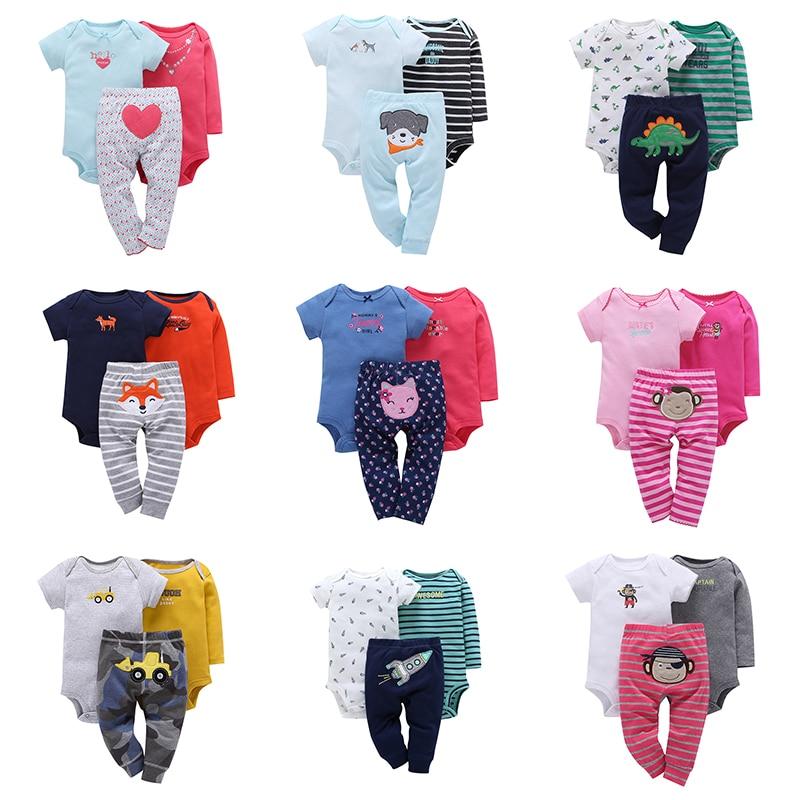 3 Pcs/suit Baby Boy Romper Cotton + Trousers Baby Bodysuit Set Newborn Baby Girl Jumpsuit