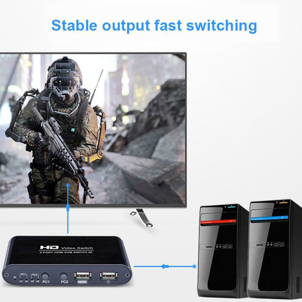 2 Port HDMI Switcher For Sharing Monitor Plug And Play Multimedia Splitter Audio KVM 4K Keyboard Mouse Mice Home High Speed Mini