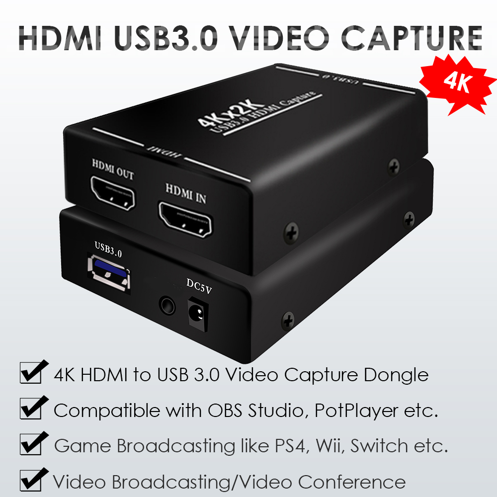 4K 2K HDMI to USB 3.0 Video Capture Card Dongle Camcorder Video PS4 Wii Switch Game Live Broadcasting Game Video Live Streaming image
