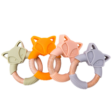 5pc Silicone Baby Teether Fox Animals Wooden Rings Teether Rodents Beech Wood Ra