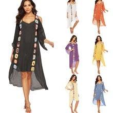 Robe de plage blanche pour femmes, paréo, taille xxl, vêtements de plage, 2020