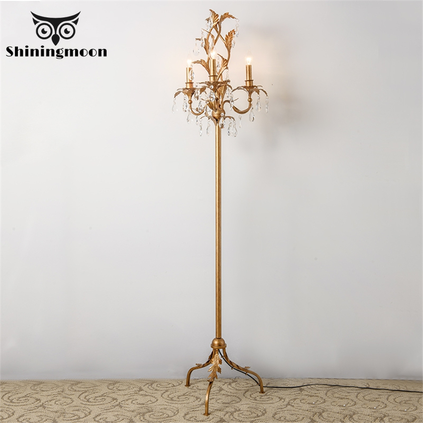 French Luxury Bedroom Floor Lamp Retro Crystal Gold Louis Living Room Lamp Stand Hotel Cafe Deco Floor Vanity Lights Fixtures