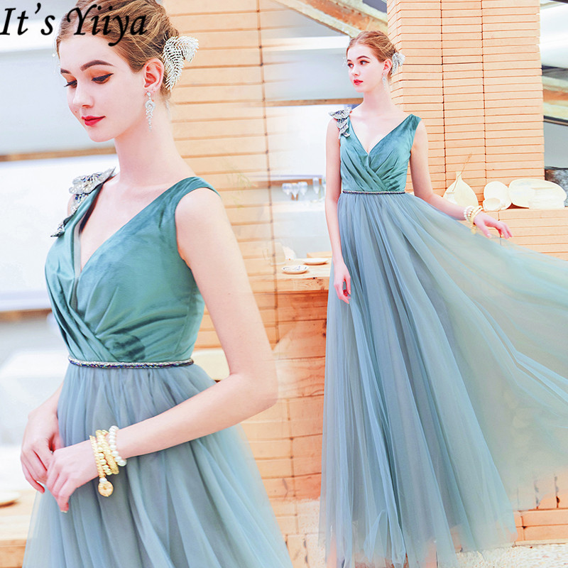 It's Yiiya Evening Dress 2019 Vintage Elegant Crystal Flowers Sleeveless A-Line Dresses Sexy Lace Up Party Formal Dresses E920