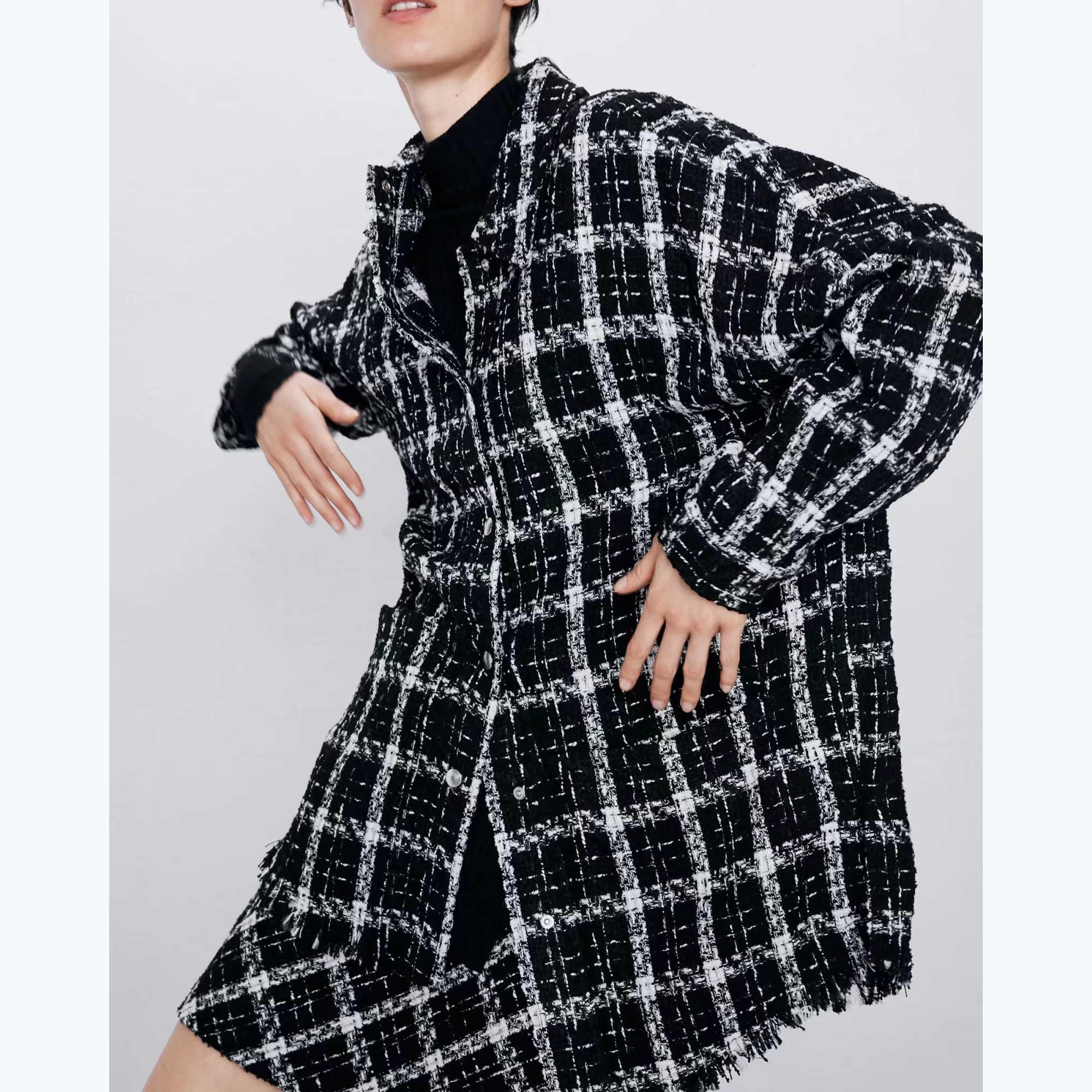 Za 秋冬女性の黒-白のチェック柄シャツプラス厚いコート暖かい生き抜くヴィンテージオーバーサイズのコート女性 shirtwear