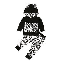 0-3Y Newborn Infant Toddler Kid Baby Boy Long Sleeve Zebra Hoodie Tops T-shirt Trousers Sweatsuit Outfits Boy Clothes 2Pcs Set(China)