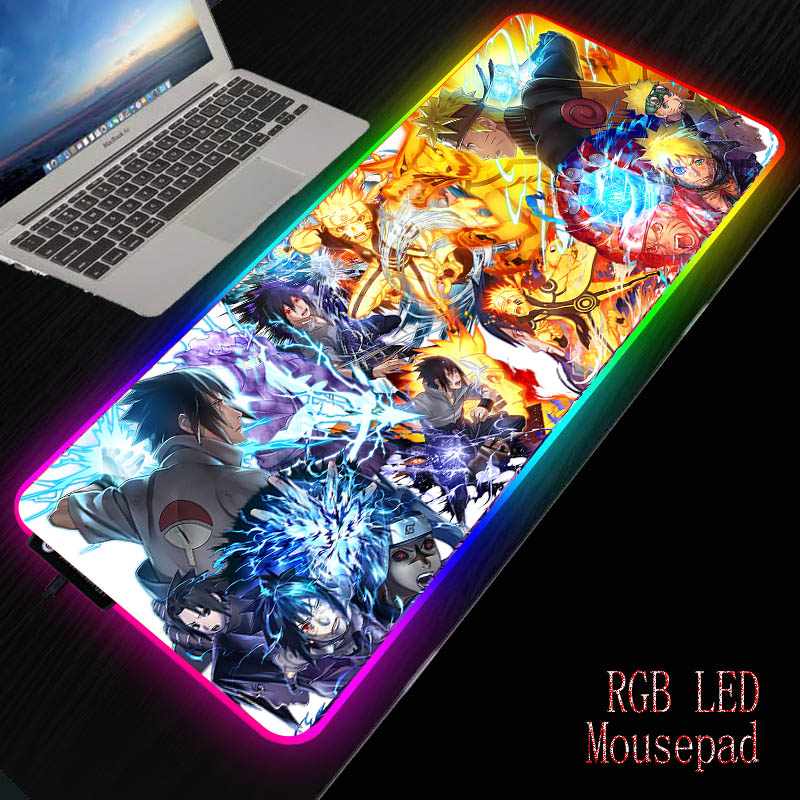 Mairuige Anime Naruto RGB Gaming Mouse Pad Gamer Computer Mousepad Backlit Mause  Large  Desk Keyboard LED Mice Mat