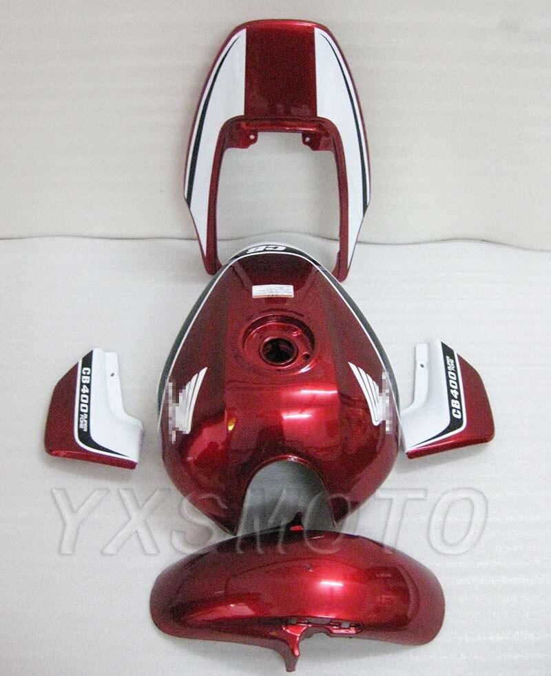 For Honda CB400 VTEC 1 2 Fairing Hull Bodywork Fairings Steel Tank Front Rear Fender Side Panel Red White