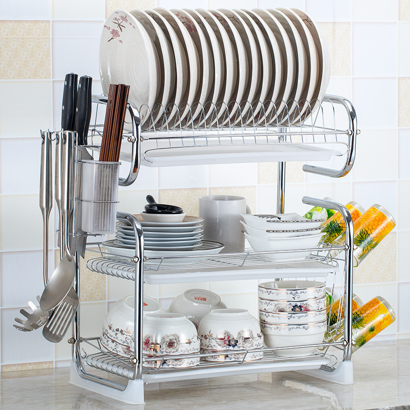 5%Sink Holder Kitchen Cutlery Rack Drain Storage Rack S-shaped 2/3 Layer Cutlery Stand Dish Rack Kitchen Cutlery Rack Plate Rack