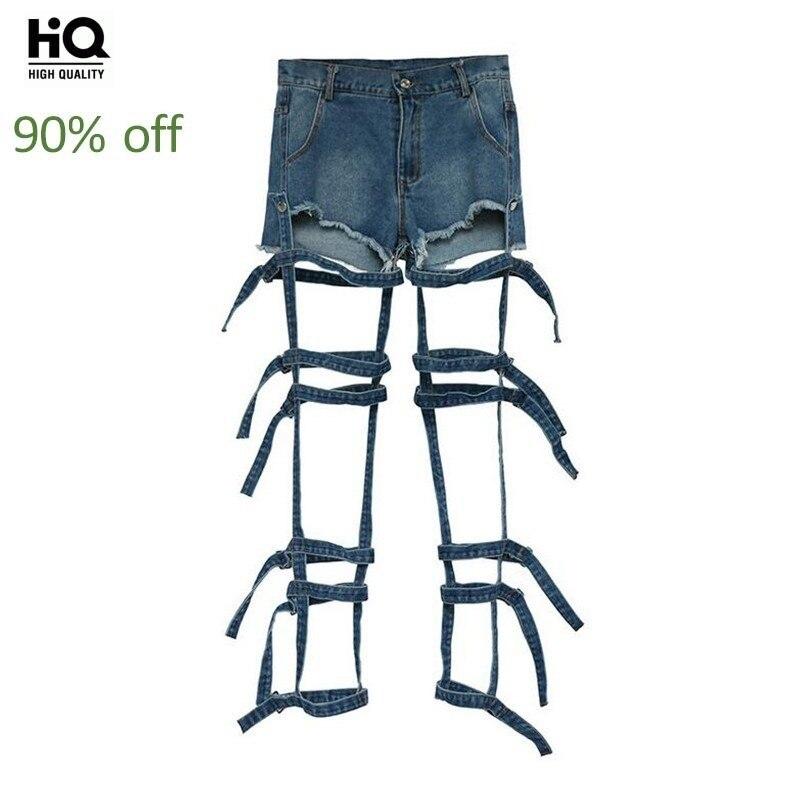 Newest 2020 Hip Hop Personalized Euro Fashion Tide Slacks Hole Ripped Bandage Harajuku Denim Shorts For Women All-Match Jeans