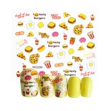 1pcs Summer Partten Nail Art Sticker Water Decals Lovely Cartoon Food Nail Wraps Slider for Nail Art Tattoo Decoration BEWG299