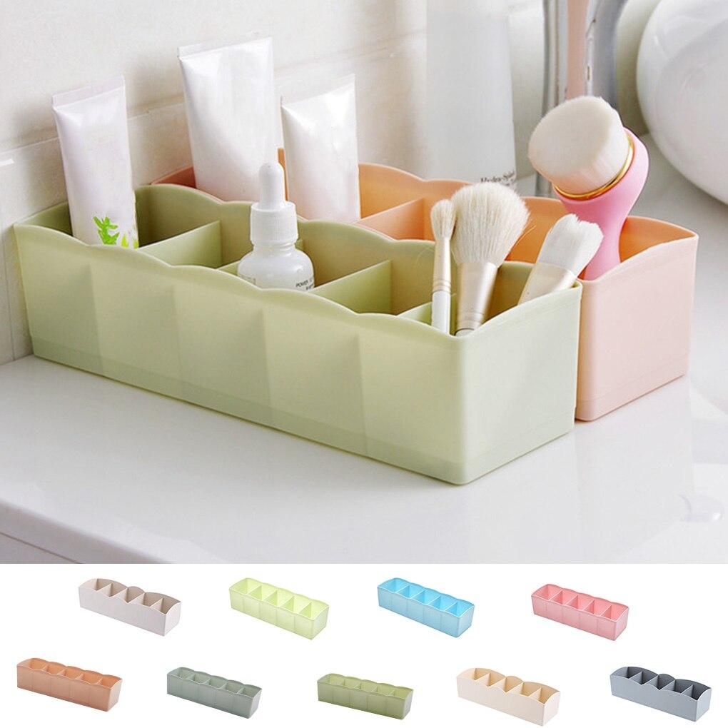 5 Grids Storage Basket Wardrobe Organizer Women Men Storage Box For Socks Underwear Plastic Container Makeup Organizer