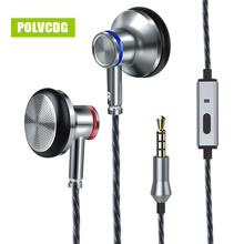 POLVCDG In-ear Headset Mobile Computer Cable HiFi Headphone A6 Earbuds With Wheat Line Control Sub Woofer Mic 3.5mm Earphones