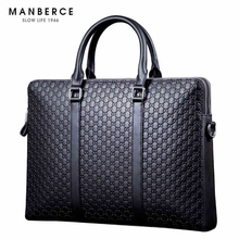 MANBERCE 2019new MAN BERCE Brand Mens Briefcase Leather Computer Bag Horizontal Business Free Shipping
