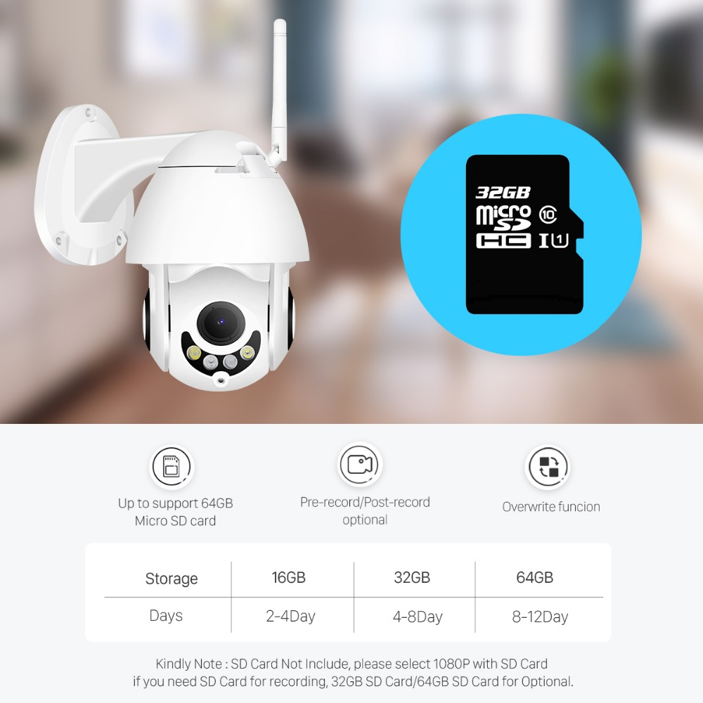 H0ee752a669cd4dddba68f5881838037fz BESDER 1080P H.265 Speed Dome Outdoor WiFi Wireless Pan Tilt IP Camera 2 Way Audio SD Card IR Vision IP ONVIF Video Surveillance
