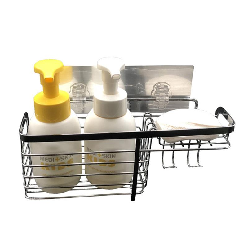 Image 5 - Adhesive Bathroom Shelf Organizer Shower Caddy Kitchen Storage Rack Wall Mounted No Drilling Stainless Steel Wire Basket HookBathroom Shelves   -