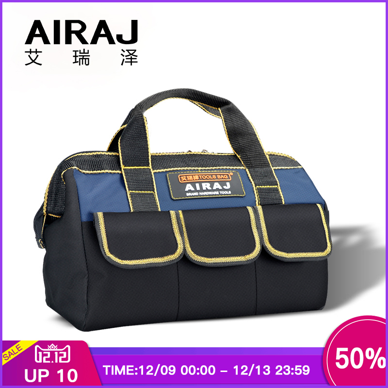 AIRAJ 13 In Tool Bag, Large Capacity Top Opening Tool Kit, Tool Storage Bag For Electrician Woodworking Fitters