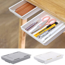 Auto vara lápis bandeja sob gaveta de mesa organizador de armazenamento de mesa caixas de armazenamento suporte auto-adesivo sob-gaveta caixa de armazenamento