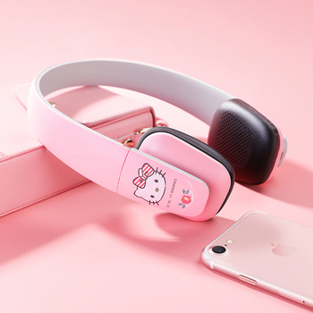 Fashion Hello Kitty wireless Bluetooth headset pink/red HIFI over ear Music headphone with Mic for girl