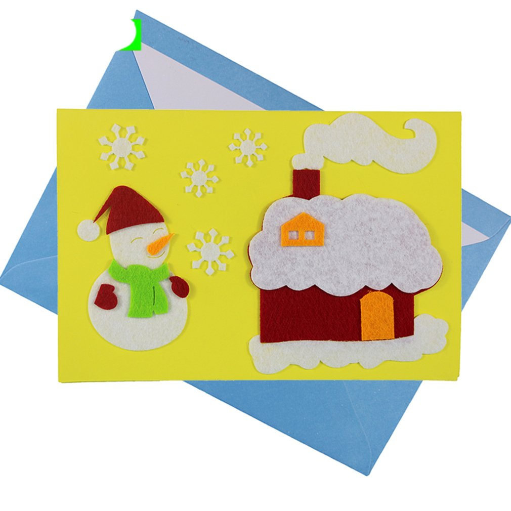 1PCS Children Creative Nonwoven Fabric Greetings Cards Christmas Gift For Teachers Students Kids DIY Handmade Crafts Art Toys